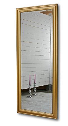 elbmöbel 150 x 60cm Wandspiegel groß in gold mit schlichtem Holz-Rahmen Spiegel Standspiegel (Spiegel Mit Rahmen)