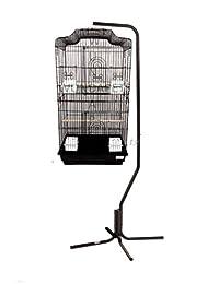 Barcelona negro Pagoda jaula de pájaros con soporte para pájaros pequeños