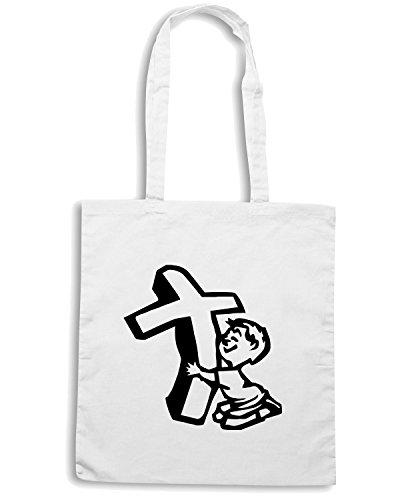 T-Shirtshock - Borsa Shopping FUN0857 boy hugging cross die cut vinyl decal sticker 81739 Bianco