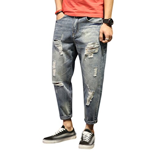 Yiiquan jeans uomo strappati lavato pantaloni in denim uomini straight pantaloni jeans moda stile 1 28