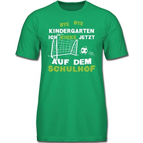 Einschulung und Schulanfang - Bye Bye Kindergarten Einschulung Fußball - 128 (7-8 Jahre) - Grün - F130K - Jungen Kinder T-Shirt (Lustige Fußball-t-shirts)