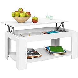 Comifort Table basse relevable avec porte-revues intégré, 100x 50x 43/55cm Moderne blanc