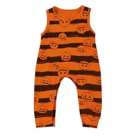 Halloween Baby Outfit Toddler Infant Boy Girl Sleeveless Pumpkin Romper Jumpsuit (12-18M)