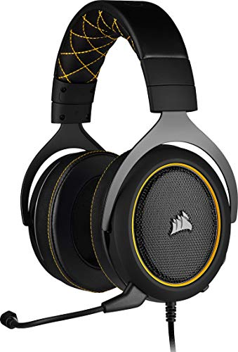 Corsair HS60 PRO Surround Casque de Gaming Son surround 7.1, Mémoire ajustables Oreillettes, Unidirectionnel Antibruit Microphone avec PC, PS4, Xbox One, Switch et mobiles Compatibilité - Jaune