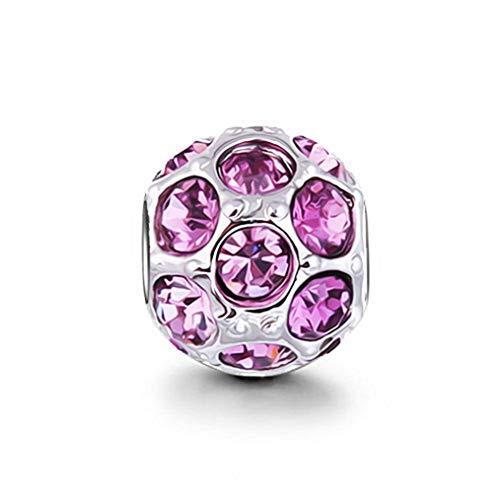 AKKi jewelry Beads Charms Perle Anhänger Charm für Armband Edelstahl Damen-bettel- Bead Silber Original Strass mit Pandora Style kompatibel Zirkonia 1