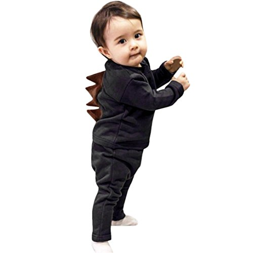 Longra Neugeborenes Baby Jungen Mädchen 3D Dinosaurier Langarmshirt Tops + Hosen 2018 Baby Sweatshirt & Hosen Bekleidungsets (100CM 24Monate, Dark (C Partei Ideen Kostüme)