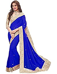 EShop Online Women's Georgette Saree With Blouse Piece (Blue Patta 306, Free Size)