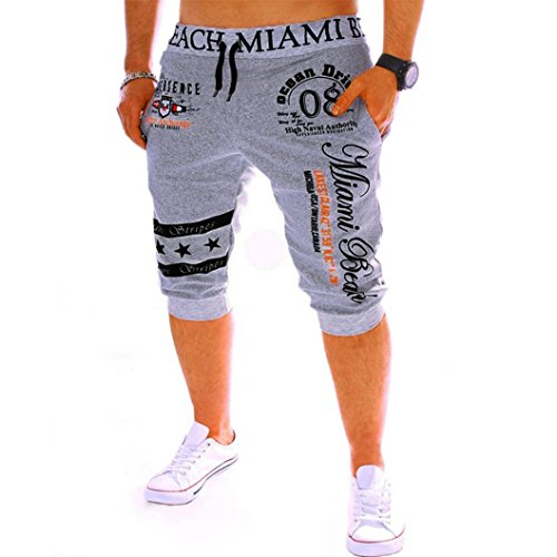Sunday77 Men's Fashion Shorts Clearance! Drawstring Elastic Loose Calf-Length Mid Waist Printing Straight Adjustable Breathable Pocket Beach Work Short Trouser Shorts Pants