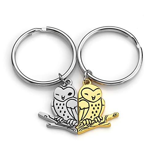 Jovivi Paar-Schlüsselanhänger für Sie und Ihn, niedlicher Drachen-Anhänger, Eule, Puzzle, Schlüsselanhänger, Ring, Handtasche, Tier-Charm, Auto-Dekoration für Liebhaber und Freundschaft. (Ringe Niedliche)