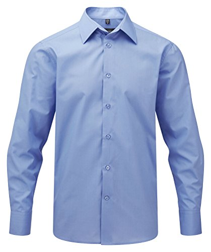 Womens 3/4 Sleeve Poplin Shirt (Russell Collection Popeline Herren Hemd, Langarm, pflegeleicht, Corporate Blue, XL)