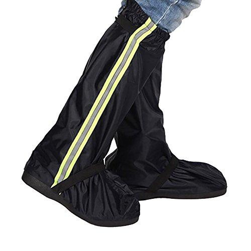 Sunmoch Oxford Tuch Regenüberschuhe Fahrrad Überschuhe Lange Wasserdicht Regen Überschuhe ,Abnutzungsbeständige und Rutschfeste Motorrad Schuhüberzüge vor Nässe, Schnee und Matsch geschützt (Schwarz, XL)