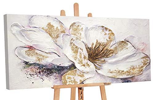 YS-Art Premium Cuadro Acrílico Peonía Dorada | Pintado