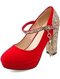 VogueZone009 Mujeres Cuña Plataforma Puntera Redonda Colores Surtidos Sin cordones De salón, Rojo, 41