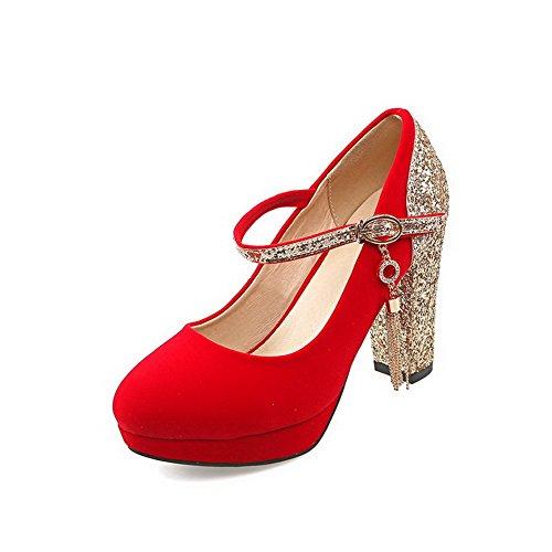AllhqFashion Femme Couleurs Mélangées Matière Mélangee à Talon Haut Rond Boucle Chaussures Légeres Rouge