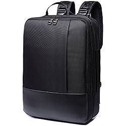 Mochila para Portátil, 3-en-1 Bolsa Bandolera/Maletin/Backpack de Hombres para Laptop 15.6 Pulgada, Impermeable Netbook Dayback para Universidad/Negocios/Trabajo, Negro