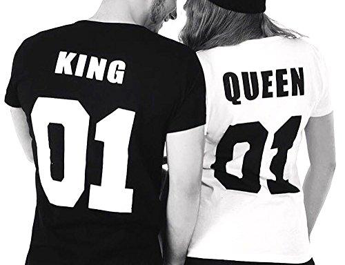 *Partner Look Pärchen T-Shirt Set King Queen T-Shirts Hochzeitstagsgeschenk Geburtstagsgeschenk Jahrestagsgeschenk (Damen Gr. S + Herren Gr. M)*
