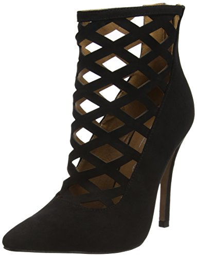 Boohoo Lattice Heeled Shoe, Sandales femme Black (Black Micro)