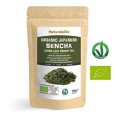 Thé vert Sencha Japonais Bio [ Upper grade ] de 50g | 100 % Bio, Naturel et Pur, Thé vert en vrac de première récolte cultivée au Japon | Organic Japanese Sencha Green Tea | NATURALEBIO