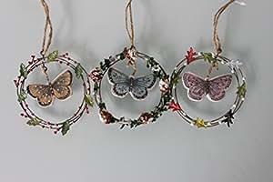 Papillon en couronne de houx, à suspendre Décoration de noël–lot de 3