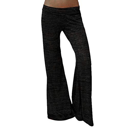 Frashing Damen Fitness Lange Stretch Lagenlook Schlaghose Hose Yoga Sporthose Treggins Hose Mit Weitem Bein Baumwolle Strumpfhose Freizeithose