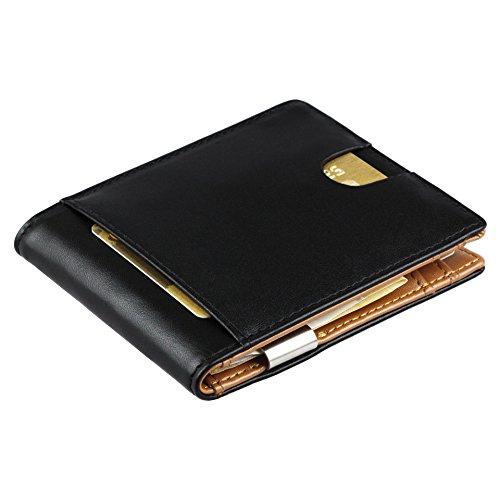 Geldbörse mit Geldklammer und Münzfach aus Echt-Leder - Geldbeutel, Kompakte Börse, Brieftasche mit Geldscheinklammer, Kredit-Karten-Etui für 8 Karten mit Geldclip, Portemonee Herren, Smart Wallet