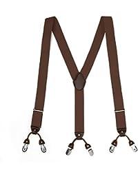 d0219d11d8283 FYDRISE Bretelle Homme Vintage 6 Pinces Y Entièrement élastique Large 3.5cm  Longueur 115cm Dos en Cuir…