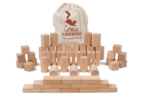 eine für Kleinkinder Set 54-teilig für Kinder ab 6 Monate | unbehandelte Holzbauklötze Made in Germany (im Baumwollbeutel) ()
