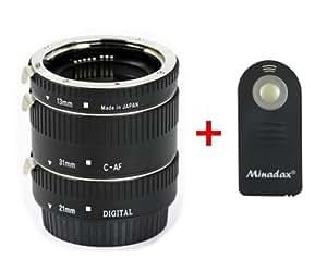 """Automatik Zwischenringe """" 3-teilig 31mm, 21mm & 13mm """" Makrofotographie + Infrarot Fernauslöser & passende Neopren Tasche für Canon EF/EF-S EOS 700D, 650D, 600D, 550D, 500D, 450D, 400D, 350D, 300D, 100D, 60D, 50D, 30D, 20D, 10D, 7D, 6D, 5D Serie, 1D Serie, D60, D30 (Metall Bajonett)"""