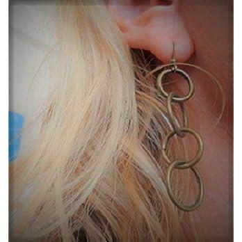 RINGE IN BRONZE Vintage Ohrringe aus vier Ringen, minimalistische Ohrringe