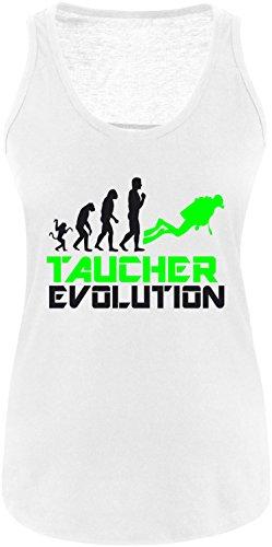 EZYshirt® Taucher Evolution Damen Tanktop Weiss/Schwarz/Neongr