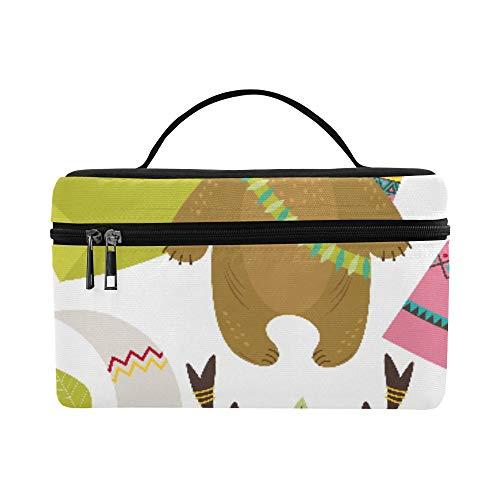 Nette Stammes populäre Tiere für Kinder große Kapazitäts Größe Dame Cosmetic Bag Make uporganisator Lunchbox Zug Kulturbeutel Kasten für Mädchen jugendlich Frauen Reisen mit klarem Reißverschluss - Kordelzug Stamm