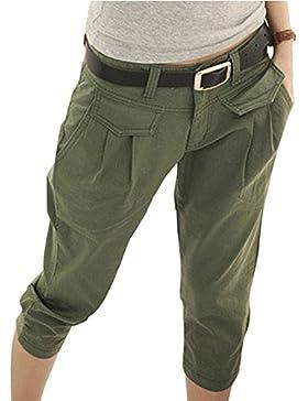 3/4 Shorts para mujeres - Pantalones Harem capri recortados Cinturón gratuito Pantalones elásticos bolsillos Pantalones...