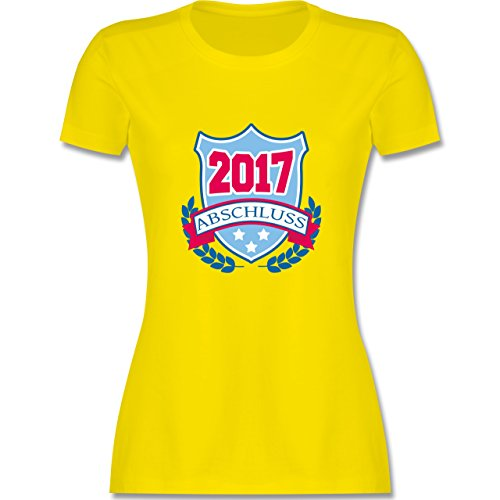 Abi & Abschluss - ABSCHLUSS 2017 Badge - tailliertes Premium T-Shirt mit Rundhalsausschnitt für Damen Lemon Gelb