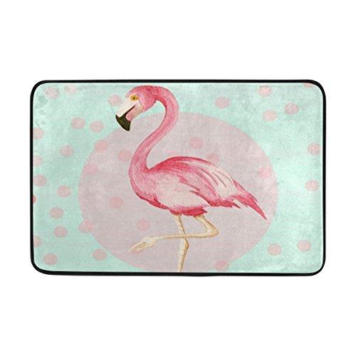 jstel Flamingo Polka Dot-Fußmatte waschbar Garten Büro Fußmatte, Küche ESS-Living Badezimmer Pet Eintrag Teppiche mit Rutschfeste Unterseite 59,9x 39,9cm