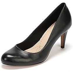 Clarks Carlita Cove Damen Pumps, Schwarz (Black Leather), 42 EU (8 Damen UK)