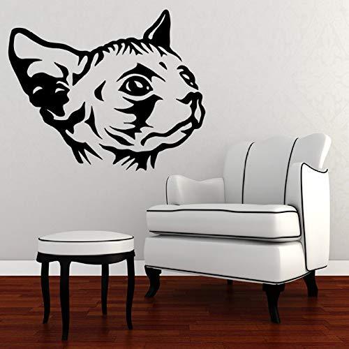 wukongsun Autocollant Mural Chat Tête De Vinyle Autocollant Mural Livraison Gratuite Sticker Animal Chambre Spéciale Animal Art Déco Noir 42X47CM