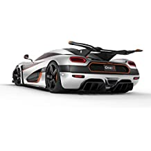 "Classique et Muscle Car ADS et art de voiture Koenigsegg Agera One : 1 (2014) voiture Art Poster imprimé sur papier de 10 MIL Archival Satin Blanc/noir Face arrière Studio View, Papier, White/Black Rear Side Studio View, 14"" x 11"""