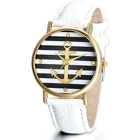 Jewelrywe Orologio da Polso Uomo Donna Ancore Striscia Watch Cinturino Pelle Bianco