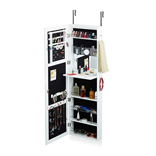 Relaxdays Schmuckschrank mit Spiegel abschließbar, Spiegelschrank groß hängend für Tür, HxBxT: 120 x 38,5 x 10 cm, weiß -