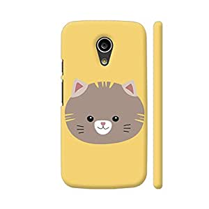 Colorpur Brown Cat with Yellow Stripes Printed Back Case Cover for Moto G2