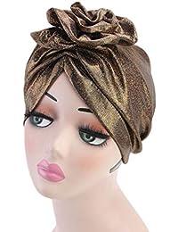 0781e20f3c9 Bigood Women Faux Silk Chemo Cancer Hat Head Scarf Muslim Turban Headwear
