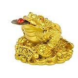 LIOOBO Feng Shui Soldi Rana Ricchezza a Tre Zampe Rana Tradizionale Soldi Rospo Statua Auto Fengshui Arredamento Prosperità Decorazione della Casa