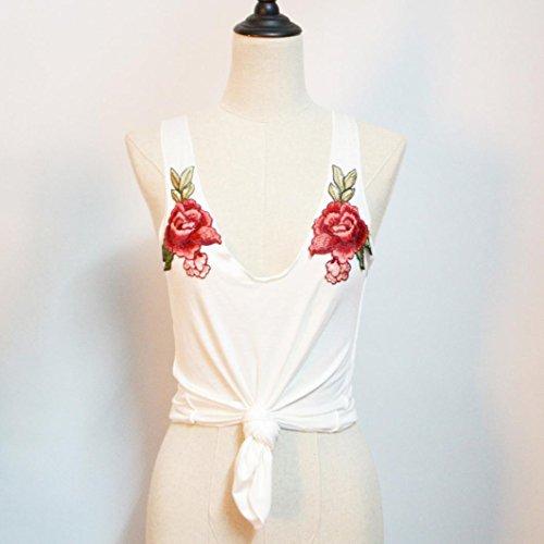 Reasoncool Vestito sexy da modo delle donne Appliques Rose Tanks senza maniche & Camis Top Camicetta Bianco