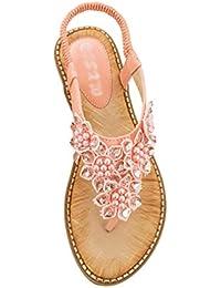 69c8d301c39c3c Dooxii Femme Strass Sandales Bohémiennes Pantoufles Tongs Sandales Plates  Flip Flops