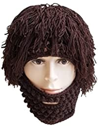 8c6ec2d0683 LUOEM Wig Beard Hats Knit Beard Mask Warm Winter Caps Funny Mask Beanie  Christmas Gift for