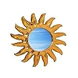 Wanddeko Spiegel Feng Shui Symbol Sonne aus Holz handbemalt gold