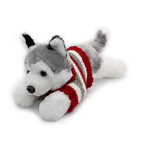 Soft Plush Toy Lying Siberian Husky Plush Puppy Stuffed Animals Dogs 12""