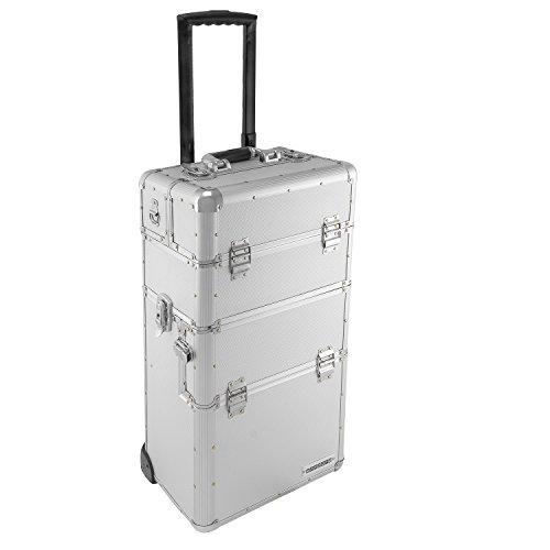 anndora Aluminium Koffer 2 Rad Trolley 60 L Pilotenkoffer Beauty Case - Silber