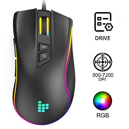 Gaming Maus, 2019-Version Tronsmart TG007 PC Maus 7200 DPI RGB Beleuchtung Gamer Maus, (Sniper Key) 8 Programmierbaren Tasten/ LED/ Ergonomisches Design/ USB-Wired, Hohe Präzision für Pro Gamer