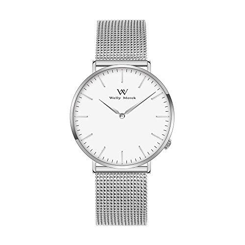 Welly Merck Damen Armbanduhr Schweizer Uhrwerk Luxus Minimalistische Saphirglas Ultra dünne 18mm Silber Edelstahl Masche Armbänder Silber Hände 36mm Zifferblatt...